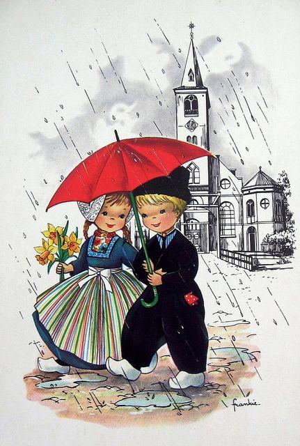 Postcard - Dutch girl and boy under umbrella