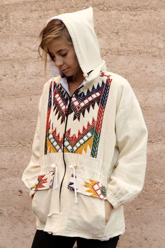 90s SLOUCHY ikat style parka SOUTHWEST oversize large FLEECE sweatshirt jacket on Etsy, $85.00
