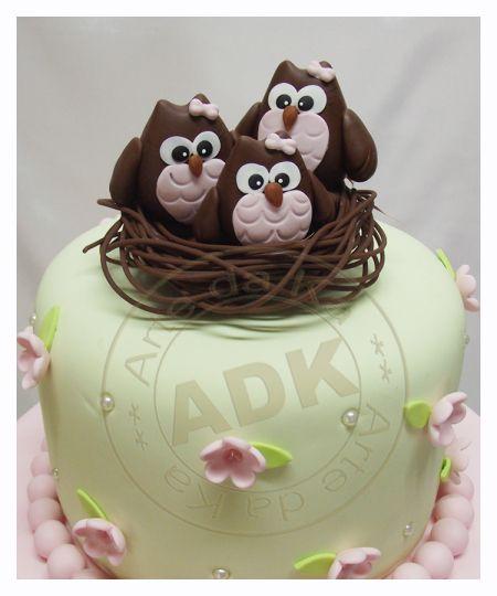 Ninho corujas de biscuit: Animal Cakes, Biscuits, Owl Cakes, Owls, Cake Decorating