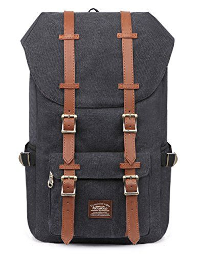 """Kaukko Laptop Outdoor Backpack, Travel Hiking& Camping Rucksack Pack, Casual Large College School Daypack, Shoulder Book Bags Back Fits 15"""" Laptop & Tablets (Canvas Black). For product & price info go to:  https://all4hiking.com/products/kaukko-laptop-outdoor-backpack-travel-hiking-camping-rucksack-pack-casual-large-college-school-daypack-shoulder-book-bags-back-fits-15-laptop-tablets-canvas-black/"""
