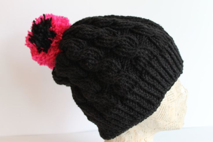 Cable Knit Black and Hot Pink Pom Pom Toque Beanie Slouch Hat Hand Made by FunkieFrocks on Etsy