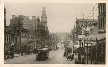 Old Postcard Melbourne Bourke Street