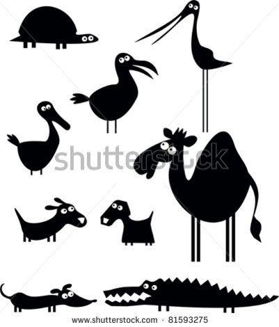 stock vector : Set of cartoon animal silhouettes