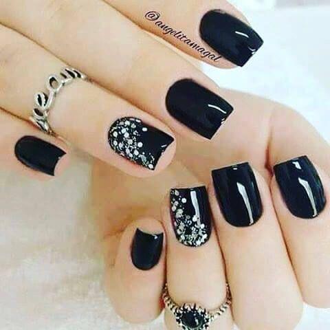 +80 Diseños de uñas decoradas color negro | Decoración de Uñas - Nail Art - Uñas decoradas - Part 2