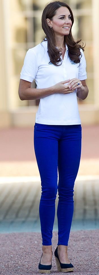 **Classic White polo with blue skinny jeans**  just wondering if i can find a polo that has sleeves that will cover most of my half sleeve though  Catherine Duchess of Cambridge, aka Kate Middleton, Olympics 2012