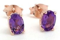 Amethyst Rose Gold Overlay Stud Earrings, Solid sterling silver, Actual Ones.