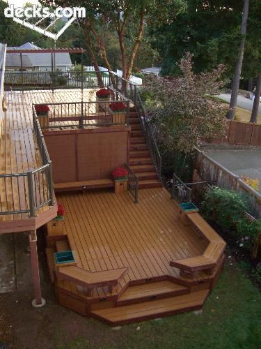 Nice bi level deck i would just add a few improvements for Split level garden decking