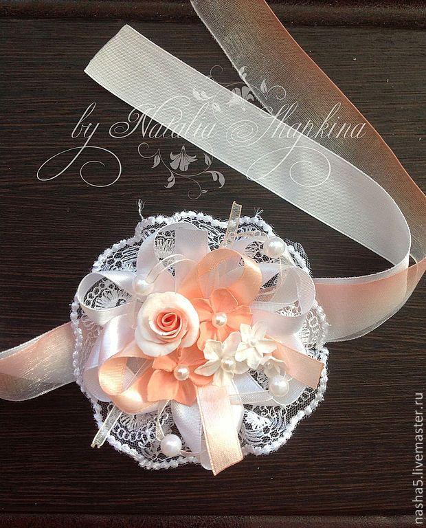 """Купить Повязочка-браслет на руку """"Нежная мята"""" для невесты или ее подружек - мятный"""