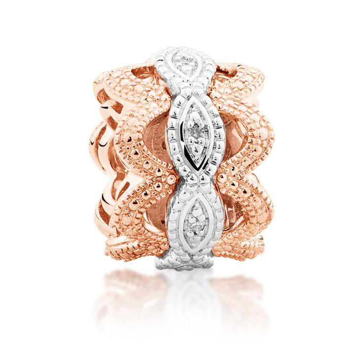 Diamond set, rose gold  sterling silver charm (11989912) #rosegold #emmaandroe