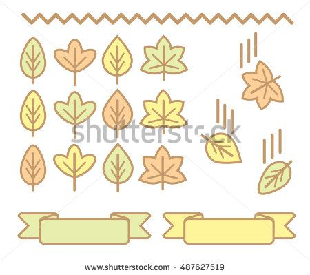 Set of autumn leaves. Vector. Yellow, green, orange colors. Cute design.