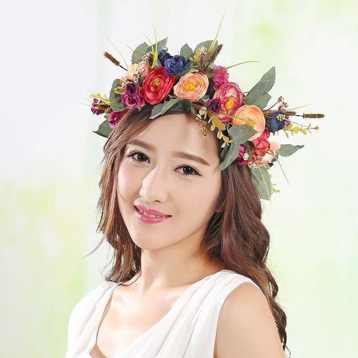 Hot Women Beach Flower Camellia Wedding Photo Wreaths Headband Hair Crown