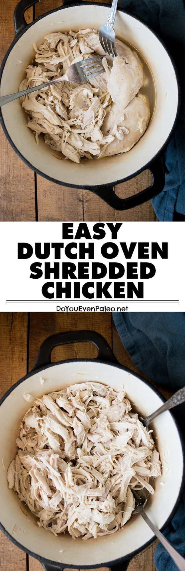 Need plain shredded chicken for a recipe? Make it quick with this plain dutch oven shredded chicken. Ready in about 30 minutes! Perfect for healthy recipes, paleo recipes, gluten free recipes, and meal prep! | DoYouEvenPaleo.net #paleo #glutenfree #doyouevenpaleo