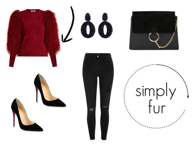 simply fur by danesmit on Polyvore featuring Sonia Rykiel, River Island, Christian Louboutin, Chloé and Oscar de la Renta