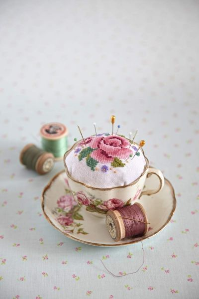 Vintage teacup/cross stitched pincushion Would garment canvas make needlepoint light enough for this?