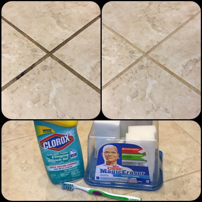 White grout cleaning! I tried a couple different things I've seen on Pinterest but this was by FAR the best. All you need is a toothbrush, Clorox toilet bowl cleaner with bleach, Mr. Clean Magic Erasers, Taylor Swift's new CD on repeat, and lots of patience. I put the toilet bowl cleaner on the grout and let it sit for a couple minutes, then scrubbed the heck out of it with the toothbrush. I cleaned that up with wet paper towels, and went over that grout with the magic erasers. Took me all…