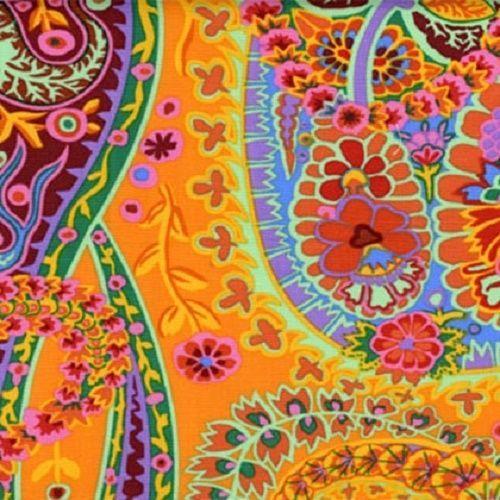 coupon de tissu patchwork kaffe fassett paisley jungle orange 45x55cm