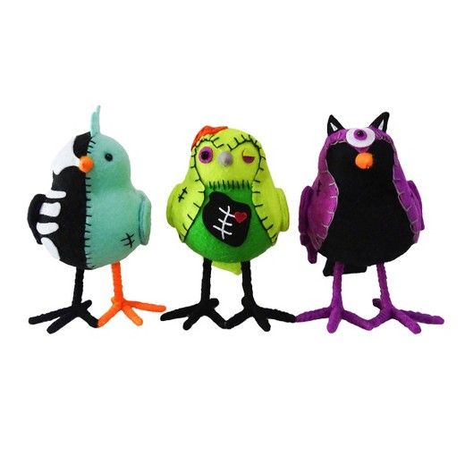 Add a little cuteness to your spooky decor with these Halloween Zombie Decorative Fabric Birds from Hyde and Eek! Boutique™. The designs of these three zombie birds includes a skeleton bird, a franken-bird and a cyclops monster bird. Each bird has a uniquely spooky zombie theme and gives your Halloween decor a pop of fun color.