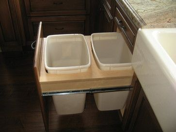 Built in trash cans - Mediterranean - kitchen trash cans - Tracy, ca. - http://www.customhomesmiller.com/