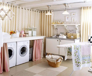 basement laundry room - seal floor, paint walls & ceiling white, use curtains to hide ugly unfinished walls.