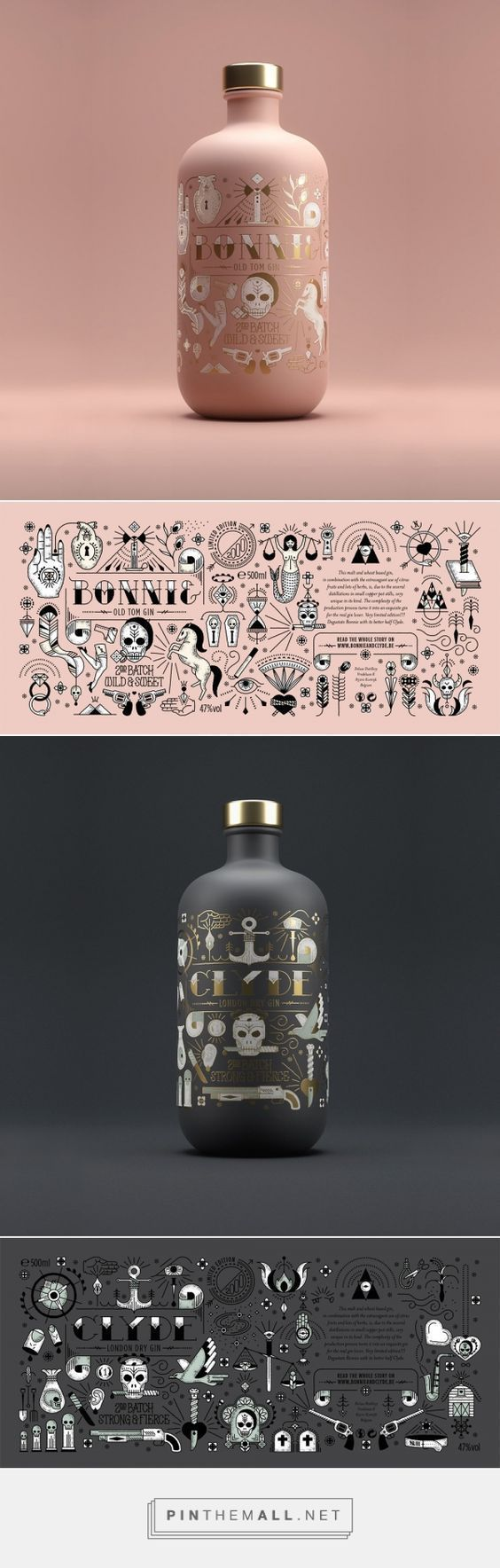 Bonnie & Clyde Gin Packaging by Pearly Yon | Fivestar Branding Agency – Design and Branding Agency & Curated Inspiration Gallery