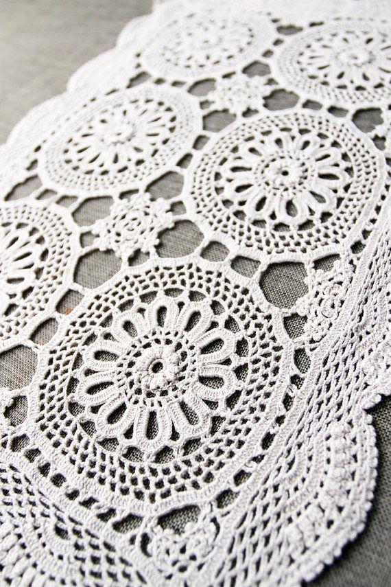 Vintage Crochet Doily handmade ecru cotton doily rectangular
