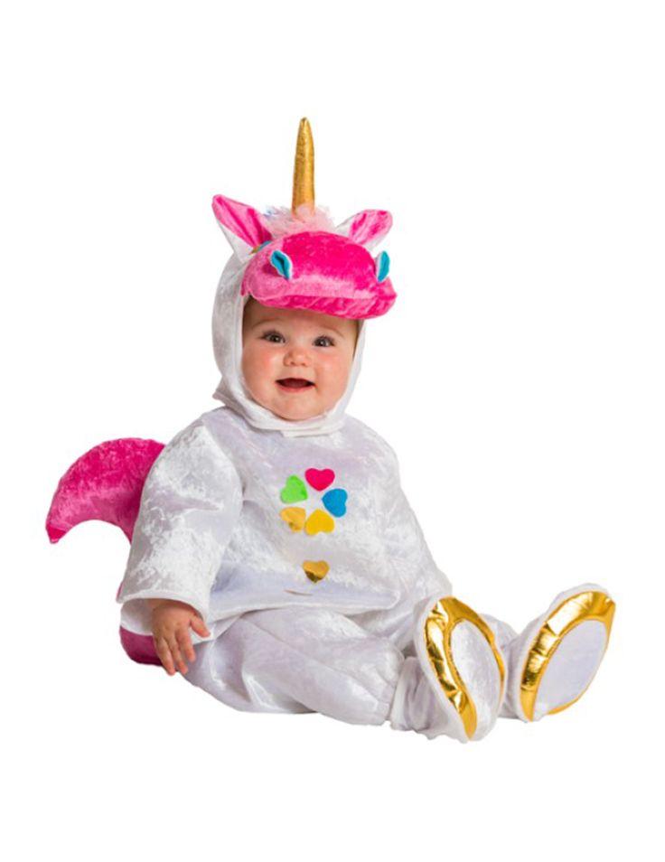 Disfraz unicornio bebé-Premium: Este disfraz de unicornio para bebé incluye un traje, una capucha y dos patucos.El traje es de tela blanca tipo terciopelo con una cola rosa detrás. Por delante lleva un trébol....