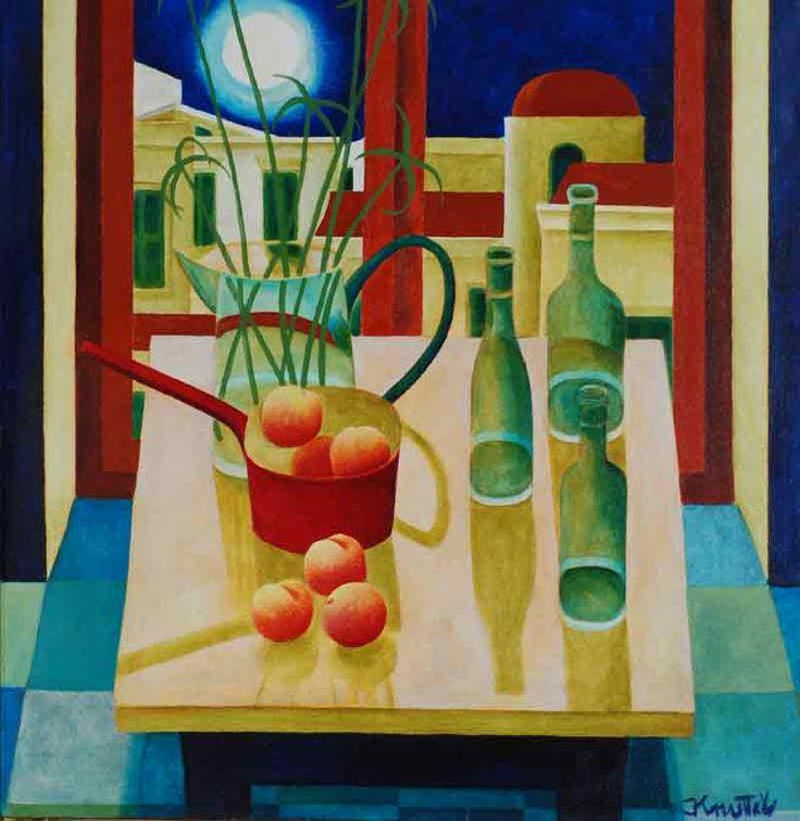 Still Life with Peaches by Graham Knuttel 91cm x 91cm Acrylic on Canvas via Apollo Art Gallery