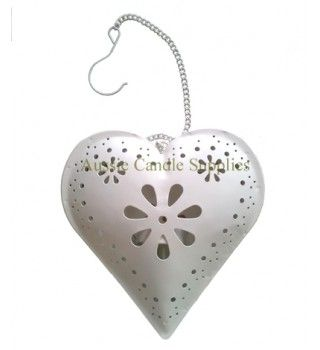 Hanging Heart Tealight Lantern $6.50  opens to hold a tealight in the back