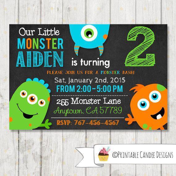 Monster Birthday Invitation - Little monster Birthday - Chalboard Monster invitation - Monster Bash Party - DIY Custom Printable by printablecandee on Etsy https://www.etsy.com/listing/254719200/monster-birthday-invitation-little
