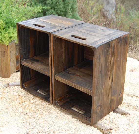 Wooden Crates/ Nightstand/ Pair of Side by LooneyBinTradingCo