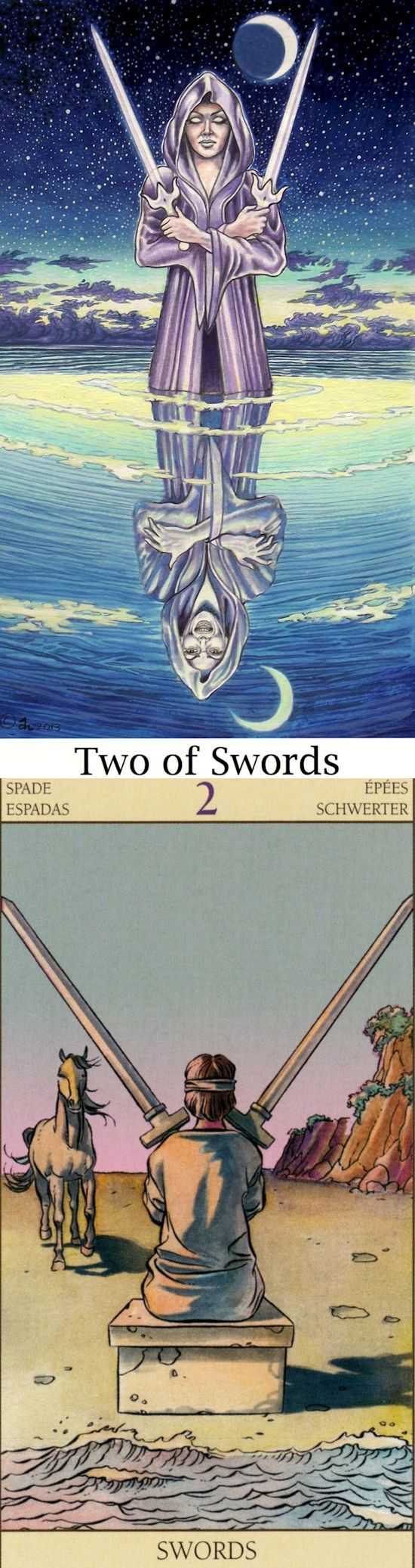 Two of Swords: stalemate and lesser of two evils (reverse). Sacredisle Tarot deck and New Vision Tarot deck: my free tarot reading, pick tarot cards online free vs free online tarot card readings future. Best 2017 guessing booth and tarot reading for beginners. #tarot #tattoo #theworld #iosapplication #tarotcards