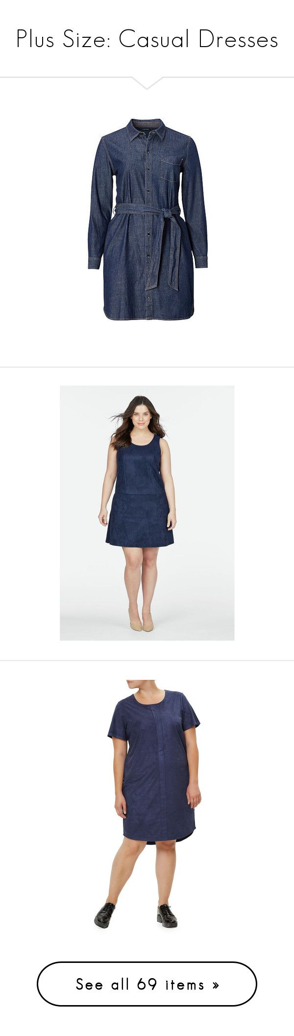 """Plus Size: Casual Dresses"" by melissab-honey-bee ❤ liked on Polyvore featuring plus size women's fashion, plus size clothing, plus size dresses, shirt dress, denim shirt dress, blue dress, blue shirt dress, long-sleeve shirt dresses, blue and flared dresses"