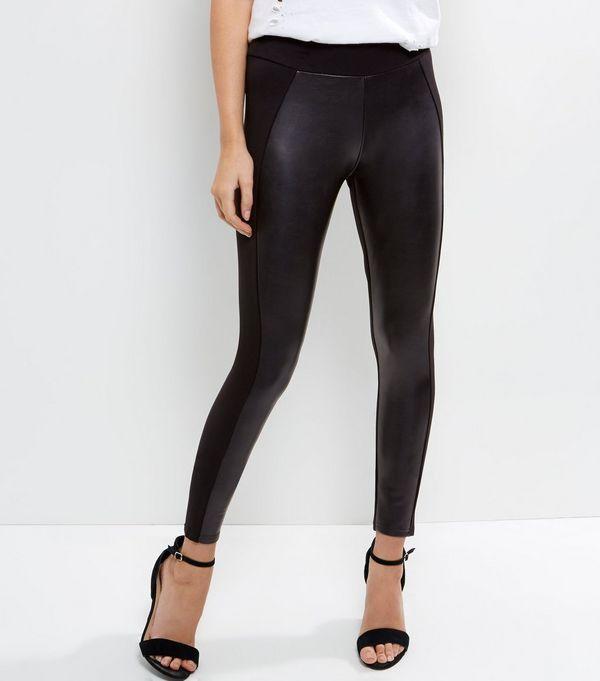 Black Leather-Look Leggings    New Look