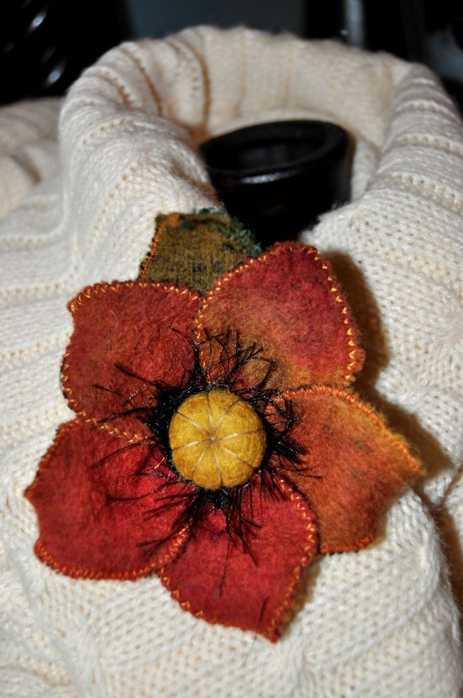 red orange wool felted brooch corsage coat jacket scarf hat pin flower lagenlook