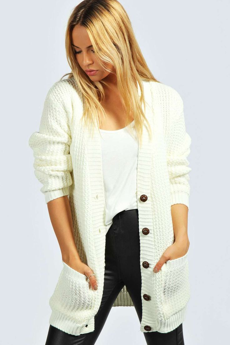 Boohoo Millie Zig Zag Knit Boyfriend Cardigan  - on Vein - getvein.com