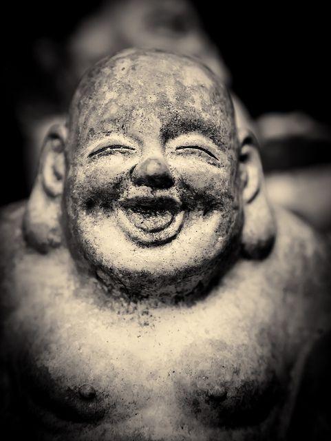Smiling Jizo statue at Sennyu-ji temple, Kyoto, Japan