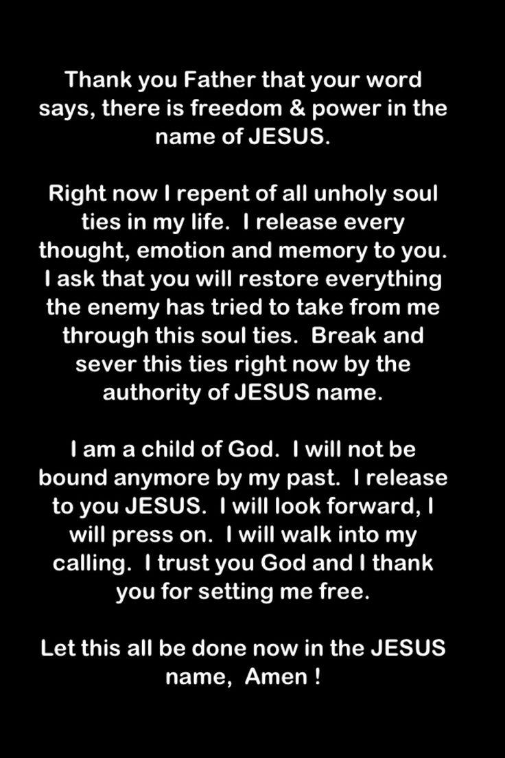 Breaking soul ties prayer
