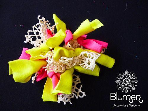 ~ Blumen ~ — ♥ collet amarilloflúory fucsiaflúor+ tela de...