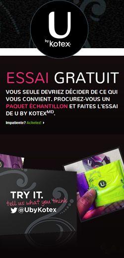 Échantillons de produits U par Kotex.  http://rienquedugratuit.ca/echantillon-gratuit/produits-u-par-kotex/