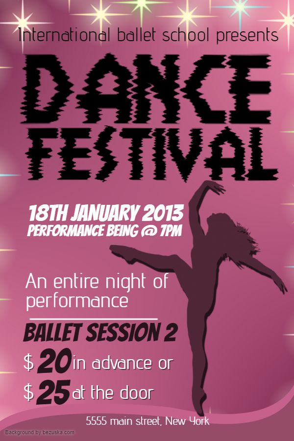 school ballet dance event flyer poster banner template event