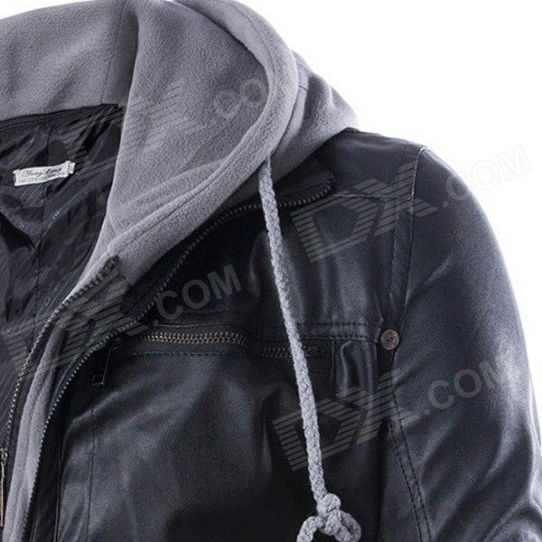 PY31 Men's European Style False Two-piece Slim Hooded PU + Cotton Motorcycle Jacket - Black (M)