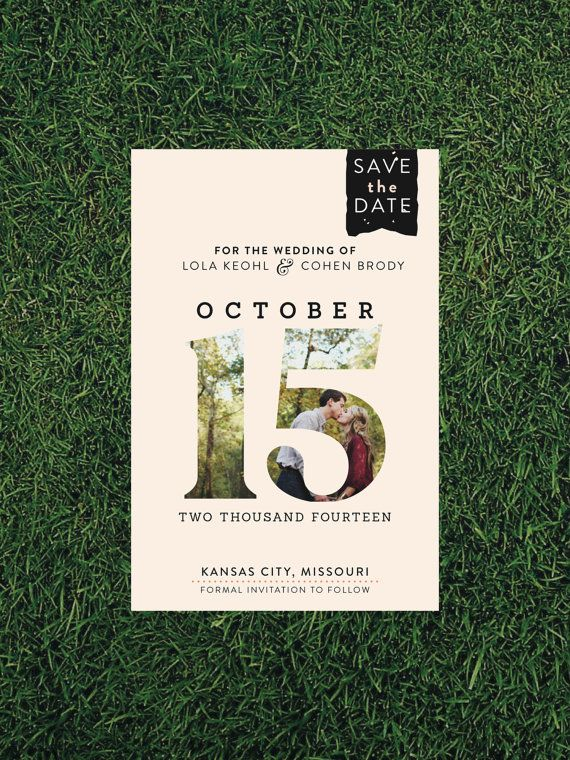Large Date Photo Wedding Save the Date // by blacklabstudio, $100.00