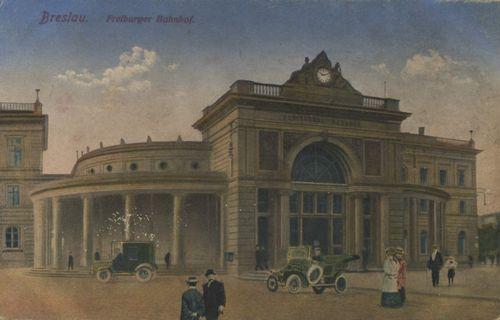 Breslau, Schlesien: Freiburger Bahnhof ca 1925