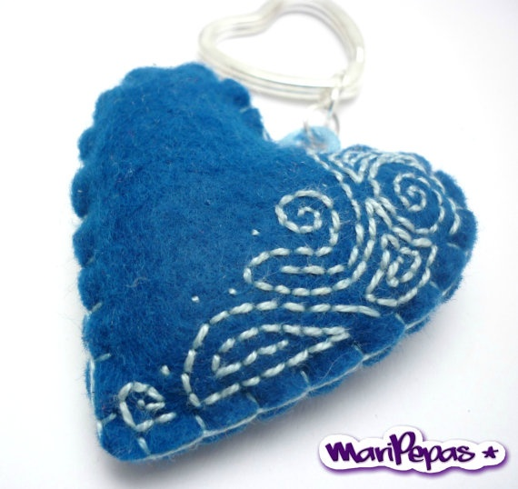 Blue felt heart keyholder with embroidery by MariPepas on Etsy, $15.00