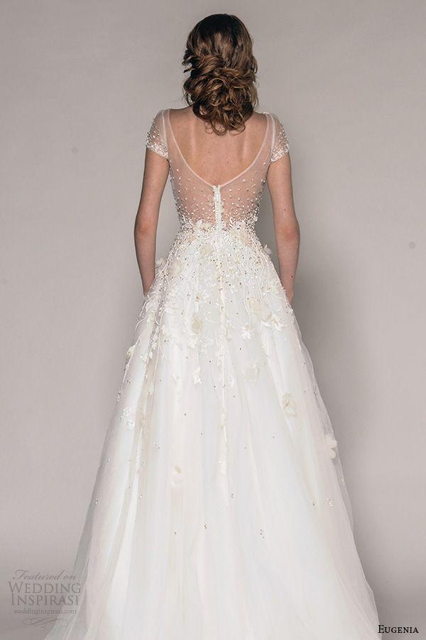 eugenia couture fall 2016 bridal cap sleeves v neckline beaded floral metallic appliques pretty a  line wedding dress style elizabeth