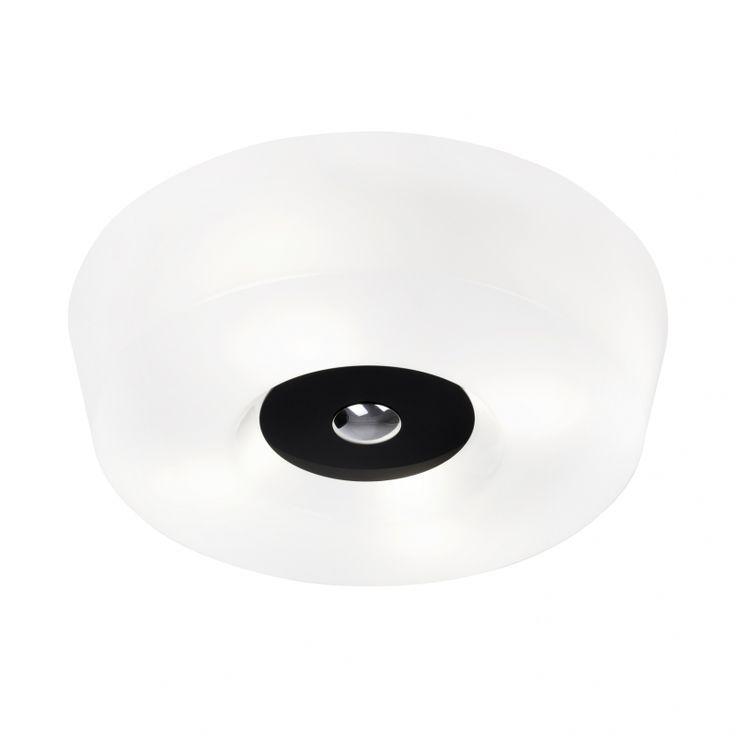"Yki 500 ceiling or wall light by Yki Nummi, 1958.  Finland.  19.7"" diameter X 5"" high.  White acrylic with black, grey, or red trim.  4XE27 medium base bulbs. List $339."