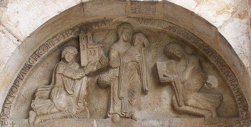 Tympanon fundacyjny, kościół norbertanek, Strzelno, ok. 1180-90.