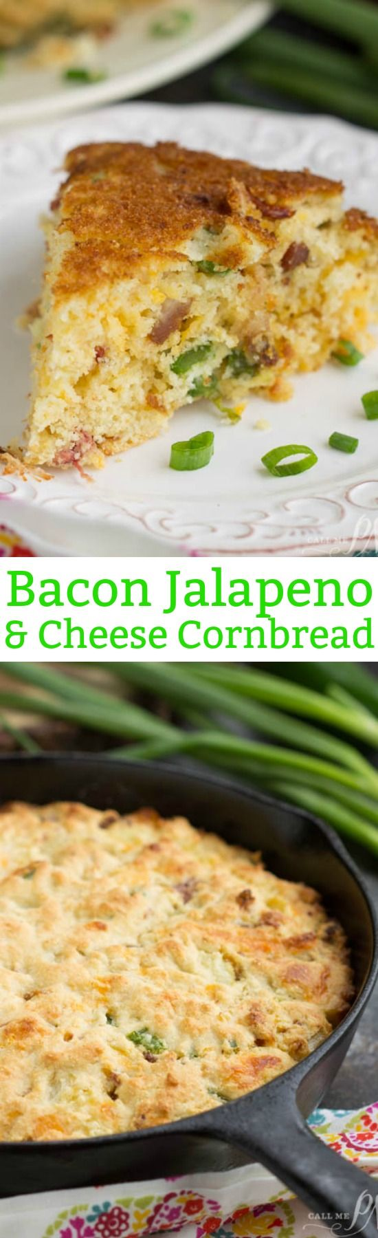 Recipe. Bread. Slightly sweet and savory, Southern Cheesy Jalapeno Bacon Skillet Cornbread, is full of smokey bacon, spicy jalapenos, and cheese. Alone or as a side, this cornbread recipe is delectable!