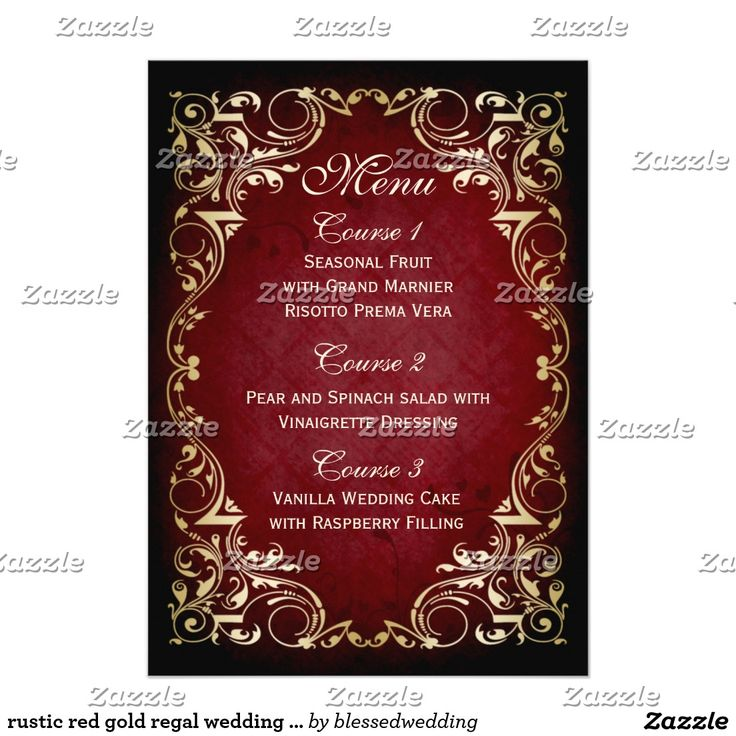 wedding invitation decoration clip art%0A rustic red gold regal wedding menu    cm x    cm invitation card