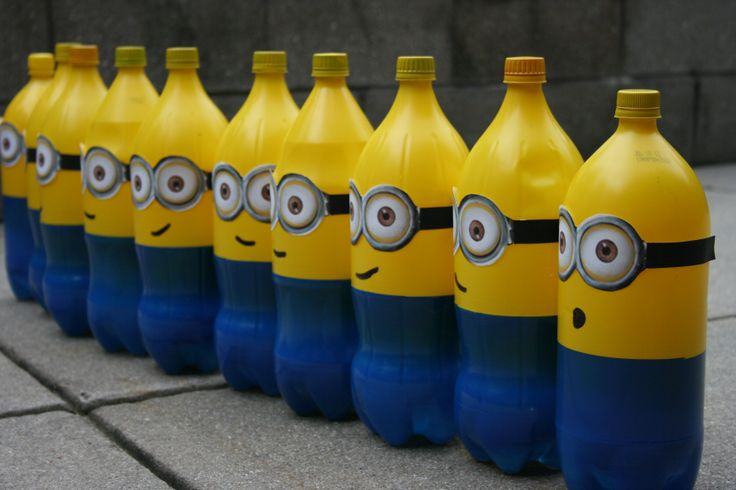 Minion Bowling  OR reverse the painting (upside down bottle) put glow stick inside and use for path lighting